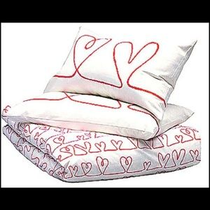 New ikea Red heart two pillowcase quilt cover